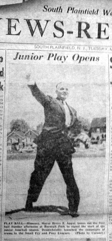 South Plainfield, New Jersey, Mayor Harry Apgar tosses the first pitch at opening day ceremonies, 1956