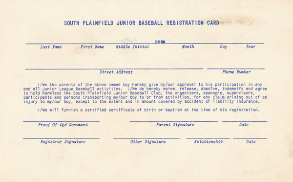 South Plainfield Small Fry League registration card