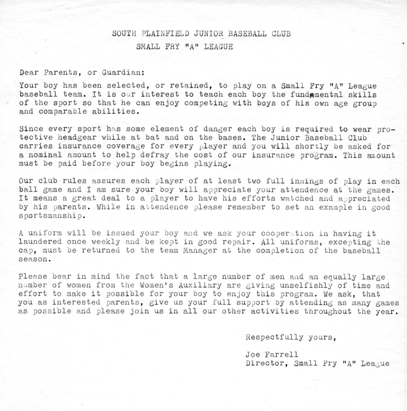 South Plainfield Small Fry League policies letter