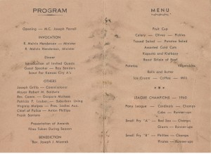 1960 Small Fry Awards Dinner program 1